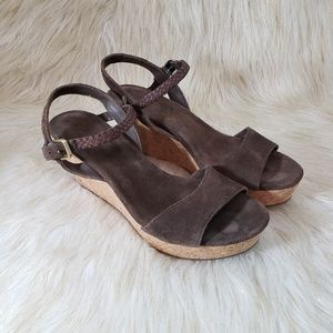 UGG Brown Leather Wedge Sandals Size 11
